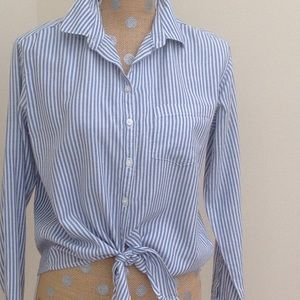 Tops - Striped Waist Tie Blouse